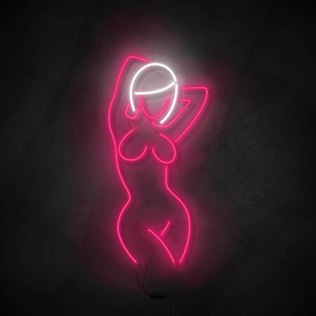 Neon silhouette of naked girl. Bright label with neon woman body. Striptease club concept icon isolated on dark concrete wall. Vector illustration. Zdjęcie Seryjne - 146958113