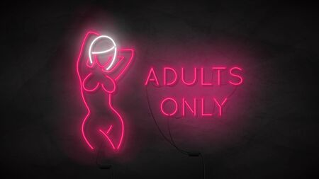Adults only neon symbol template. Neon silhouette of naked girl. Bright label with woman body isolated on dark concrete wall. Striptease club icon concept. Vector illustration. Zdjęcie Seryjne - 146958118
