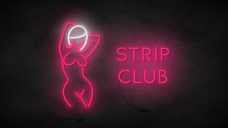 Striptease club neon sign. Neon silhouette of naked girl. Bright label with woman body. Strip bar concept icon isolated on dark concrete wall. Vector illustration. Adult show. Zdjęcie Seryjne - 146958120