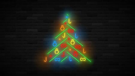 Neon Christmas tree template. Realistic bright neon New Year symbol. Holiday glowing banner. Vector illustration. Merry Christmas and Happy New Year card. Ilustracja