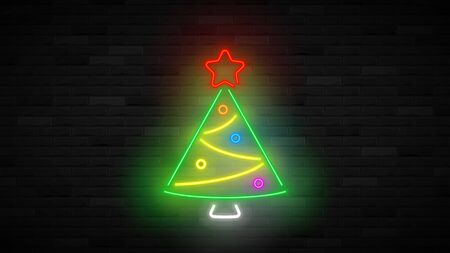 Neon Christmas tree concepte. Realistic bright neon New Year symbol. Holiday glowing banner. Vector illustration. Merry Christmas and Happy New Year card. Ilustracja