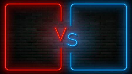 Neon Versus label template. Vector illustration with bright neon frames. VS symbol on dark brick wall.