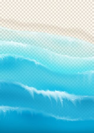 Top view on foamy ocean waves. Realistic aerial view on foamy sea water isolated on chekered background. Vector illustration with cascade of sea waves. Zdjęcie Seryjne - 146958126