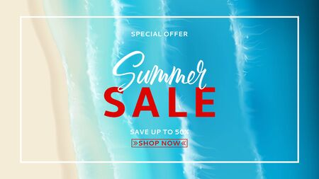 Summer sale promo banner. Top view on foamy sea waves. Realistic aerial view on foamy sea water isolated on chekered background. Vector illustration with cascade of ocean waves. Zdjęcie Seryjne - 146958127