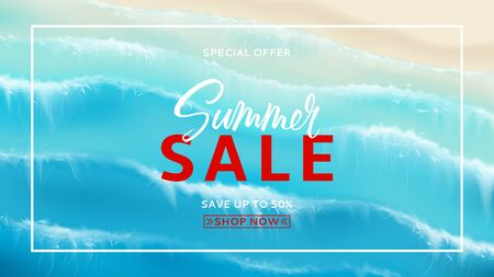 Summer sale horizontal banner. Top view on foamy sea waves. Realistic aerial view on foamy sea water isolated on chekered background. Vector illustration with cascade of ocean waves.