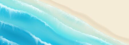 Top view on sea sandy beach. Realistic aerial view on foamy sea waves splashing on sandy coast. Vector illustration with cascade of ocean waves. Ilustracja