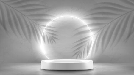 Abstract neon banner with pedestal. 3d podium with white neon circle. Abstract background for promotion goods. Vector illustration with blank space and tropical leaves' shadows. Mockup template. Zdjęcie Seryjne - 146971206