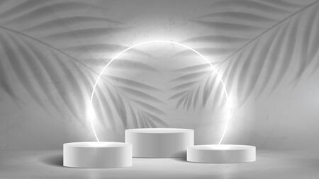 Abstract neon banner with podiums. 3d pedestals with white neon circle. Abstract background for promotion goods. Vector illustration with blank space and tropical leaves' shadows. Mockup template. Zdjęcie Seryjne - 146971572