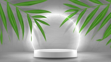 Promo banner with podium and neon circle. 3d pedestal with white neon circle. Abstract background for promotion goods. Vector illustration with blank space and tropical palm leaves. Mockup template.