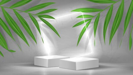 Promo banner with podiums and neon square. 3d pedestals with white neon squares. Abstract background for promotion goods. Vector illustration with blank space and tropical palm leaves. Zdjęcie Seryjne - 146972383