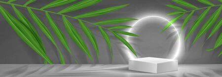Horizontal banner with podium and neon circle. 3d pedestal with white neon circle. Abstract background for promotion goods. Vector illustration with blank space and tropical palm leaves. Ilustracja