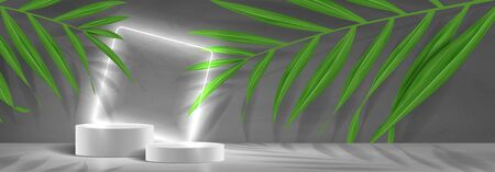 Horizontal banner with podiums and neon square. 3d pedestals with white neon square. Abstract background for promotion goods. Vector illustration with blank space and tropical palm leaves.