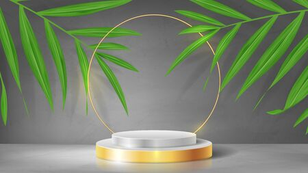 Abstract banner with pedestal and gold circle. 3d podium with golden circle. Abstract background for promotion goods. Vector illustration with blank space and tropical palm leaves. Mockup template. Ilustracja