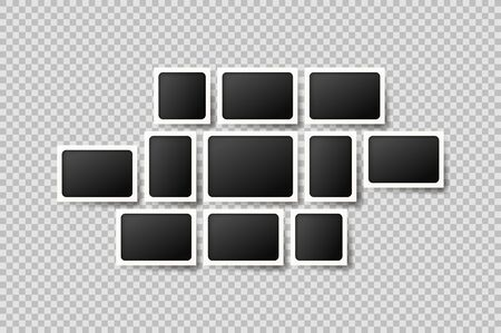 Template of wall photo frames isolated on checkered background. Vector illustration with blank photo cards. Mockup concept. Ilustracja