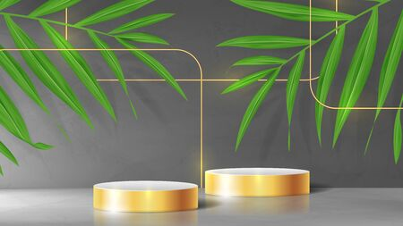 Abstract banner with pedestals and gold squares. 3d podiums with golden squares. Abstract background for promotion goods. Vector illustration with blank space and palm leaves. Mockup template. Ilustracja