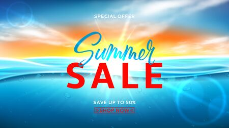 Summer sale background template. Vector illustration with deep underwater ocean scene. Realistic background with sea landscape with sunset or sunrise.