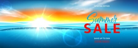 Horizontal banner for summer sale. Vector illustration with deep underwater ocean scene. Realistic background with sea landscape with sunset or sunrise. Ilustracja