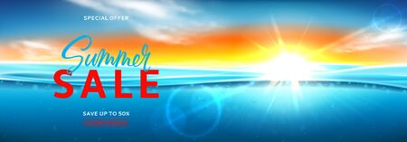 Horizontal promo banner for summer sale. Vector illustration with deep underwater ocean scene. Realistic background with sea landscape with sunset or sunrise.
