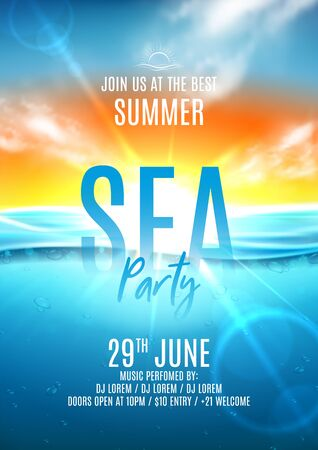 Summer sea party flyer template. Vector illustration with deep underwater ocean scene. Realistic background with sea landscape with sunset or sunrise. Invitation to nightclub. Zdjęcie Seryjne - 147417091
