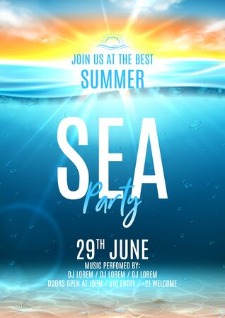Summer sea party poster template. Vector illustration with deep underwater ocean scene with seashells on sandy bottom. Realistic  sea landscape with sunset or sunrise. Invitation to nightclub.