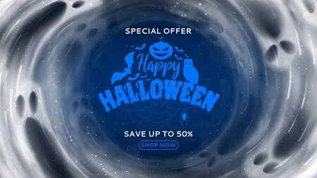Halloween sale horizontal banner. Holiday card with transparent flying ghosts. Vector illustration. Promo banner.
