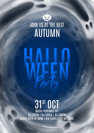 Happy Halloween party poster. Festive banner with transparent flying ghosts. Vector illustration. Promo banner. Invitation to nightclub. Zdjęcie Seryjne - 149433234