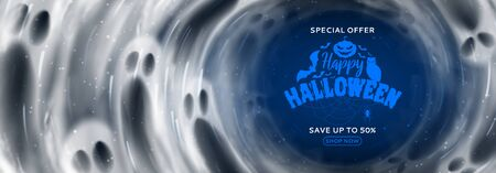 Halloween sale banner template. Holiday background with transparent flying ghosts. Vector illustration. Promo banner. Zdjęcie Seryjne - 149433267