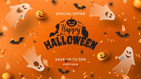 Halloween sale horizontal banner. Holiday promo banner with spooky flying ghosts, black spiders and bats, scary pumpkins, serpentine and confetti on orange background. Vector illustration. Ilustracja