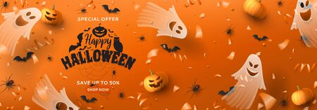 Happy Halloween sale horizontal banner. Holiday promo banner with spooky flying ghosts, black spiders and bats, scary pumpkins, serpentine and confetti on orange background. Vector illustration. Ilustracja