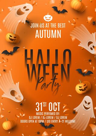 Happy Halloween party poster. Holiday promo banner with spooky flying ghosts, black spiders and bats, scary pumpkins, serpentine and confetti on orange background. Invitation to nightclub.