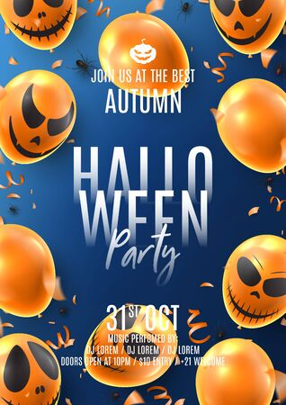 Happy Halloween party flyer. Holiday promo banner with spooky balloons, black spiders, orange serpentine and confetti on blue background. Vector illustration. Invitation to nightclub.