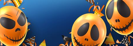 Happy Halloween festive banner. Holiday promo banner with spooky balloons, color garlands, orange serpentine and confetti on blue background. Vector illustration.