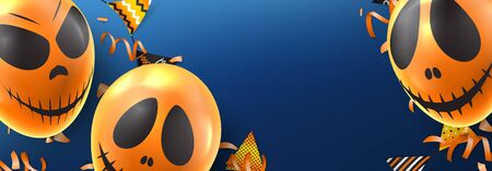 Happy Halloween holiday banner. Holiday promo banner with spooky balloons, color garlands, orange serpentine and confetti on blue background. Vector illustration.