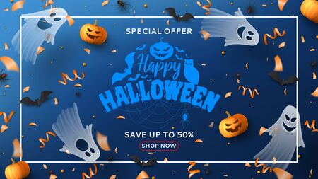 Halloween sale horizontal banner. Holiday promo banner with spooky flying ghosts, black spiders and bats, scary pumpkins, serpentine and confetti on blue background. Vector illustration.