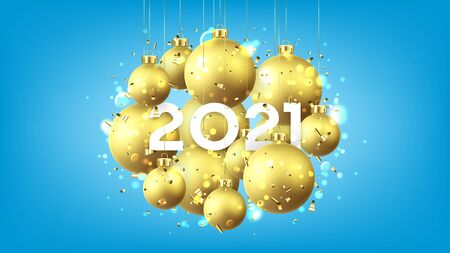 Happy New Year card template. Holiday vector illustration with realistic golden Christmas balls and 2021 number. Decoration balls, confetti and effect bokeh on blue background. Ilustracja