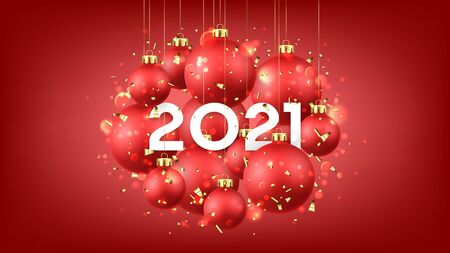 Beautiful Happy New Year card. Holiday vector illustration with realistic red Christmas balls and 2021 number. Decoration balls, golden confetti and effect bokeh on red background.