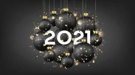 Beautiful Happy New Year banner. Holiday vector illustration with realistic black Christmas balls and 2021 number. Decoration balls, golden confetti and effect bokeh on black background. Ilustracja