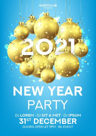 Happy New Year party flyer. Holiday vector illustration with realistic golden Christmas balls and 2020 number. Decoration balls, confetti and effect bokeh on blue background. Invitation to nightclub.