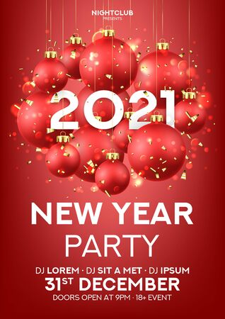 Happy New Year party poster. Holiday vector illustration with realistic red Christmas balls and 2021 number. Decoration balls, confetti and effect bokeh on red background. Invitation to nightclub.