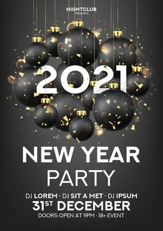 New Year party poster invitation. Holiday vector illustration with black Christmas balls, 2021 number. Decoration balls, confetti and effect bokeh on black background. Invitation to nightclub. Ilustracja