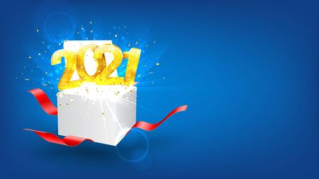 2021 Happy New Year holiday background. Vector illustration with golden numbers and gift box with red ribbons. Merry Christmas and Happy New Year holiday symbol template. Zdjęcie Seryjne - 149198721