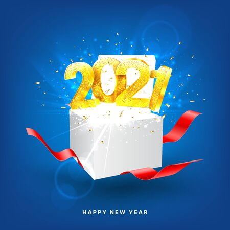 2021 Happy New Year holiday card. Vector illustration with golden numbers and gift box with red ribbons. Merry Christmas and Happy New Year holiday symbol template.