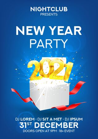 2021 Happy New Year party flyer. Vector illustration with golden numbers and gift box with red ribbons. Merry Christmas and Happy New Year holiday symbol template. Invitation to nightclub. Zdjęcie Seryjne - 149433365