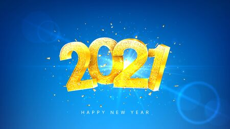 2021 Happy New Year holiday banner. Vector illustration with golden numbers with confetti on blue background. Merry Christmas and Happy New Year holiday symbol template.