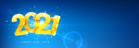 2021 Happy New Year holiday horizontal banner. Vector illustration with golden numbers with confetti on blue background. Merry Christmas and Happy New Year holiday symbol template.