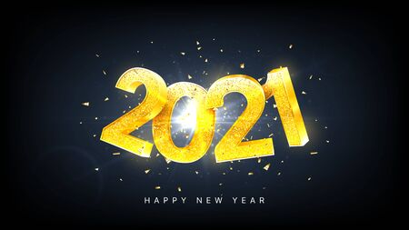 2021 Happy New Year holiday card. Vector illustration with golden numbers with confetti on black background. Merry Christmas and Happy New Year holiday symbol template.