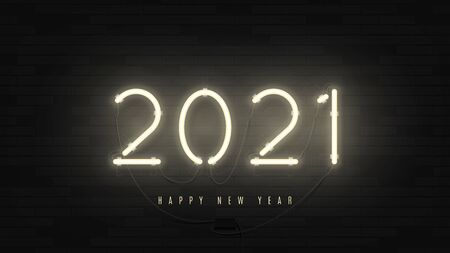 2021 Happy New Year Neon banner. Realistic bright neon billboard on brick wall. Concept of holiday card with glowing text. Vector illustration.