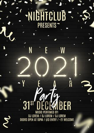 2021 Happy New Year party flyer. Realistic bright neon number on brick wall. Concept of holiday banner with glowing text. Vector illustration with confetti and serpentine. Invitation to nightclub. Zdjęcie Seryjne - 149433551