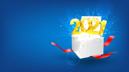 2021 Happy New Year holiday banner. Vector illustration with golden numbers and gift box with red ribbons. Merry Christmas and Happy New Year holiday symbol template.