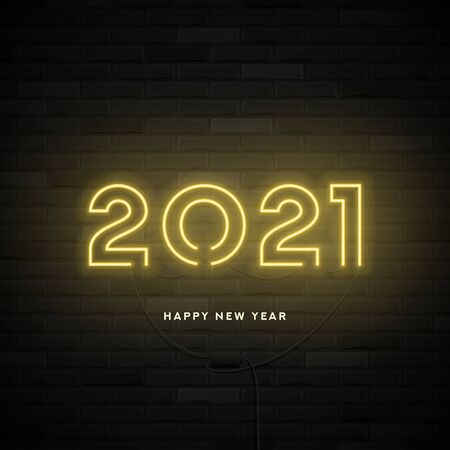 2021 Happy New Year Neon card. Realistic bright neon billboard on brick wall. Concept of holiday banner with glowing text. Vector illustration.
